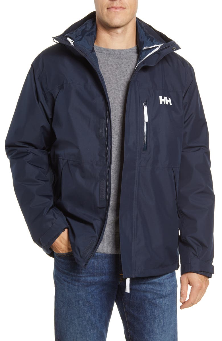 HELLY HANSEN Squamish 3-in-1 Water Repellent Hooded Jacket, Main, color, NAVY