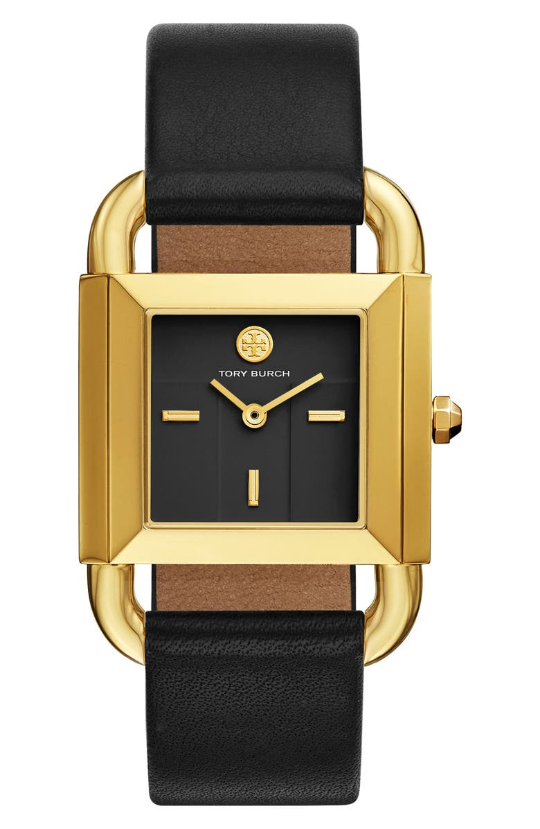 TORY BURCH Phipps Leather Strap Watch, 29mm x 41mm, Main, color, 001