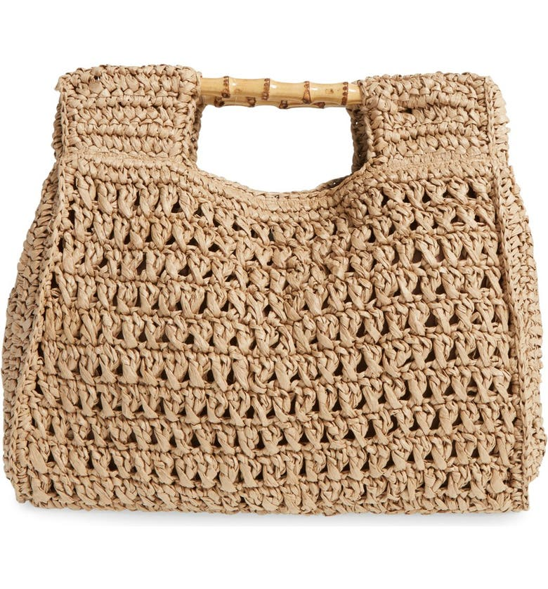 SAN DIEGO HAT Woven Straw Tote, Main, color, NATURAL