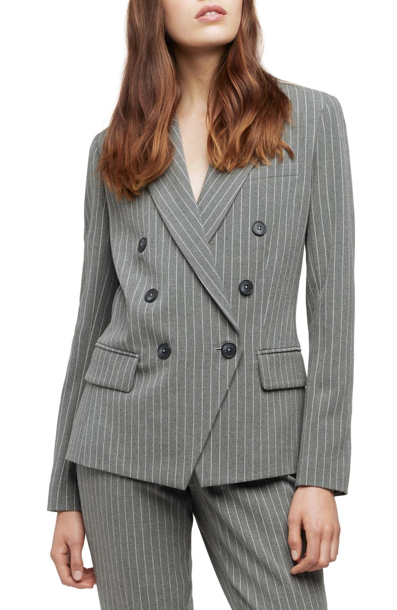 LAGENCE L'AGENCE Kenzie Pinstripe Double Breasted Blazer, Main, color, GREY/ IVORY