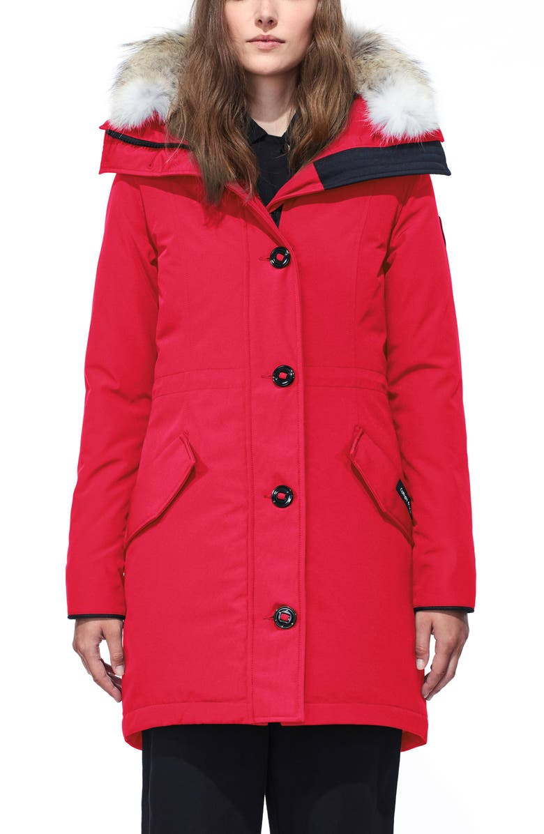 CANADA GOOSE Rossclair Genuine Coyote Fur Trim Down Parka, Main, color, RED