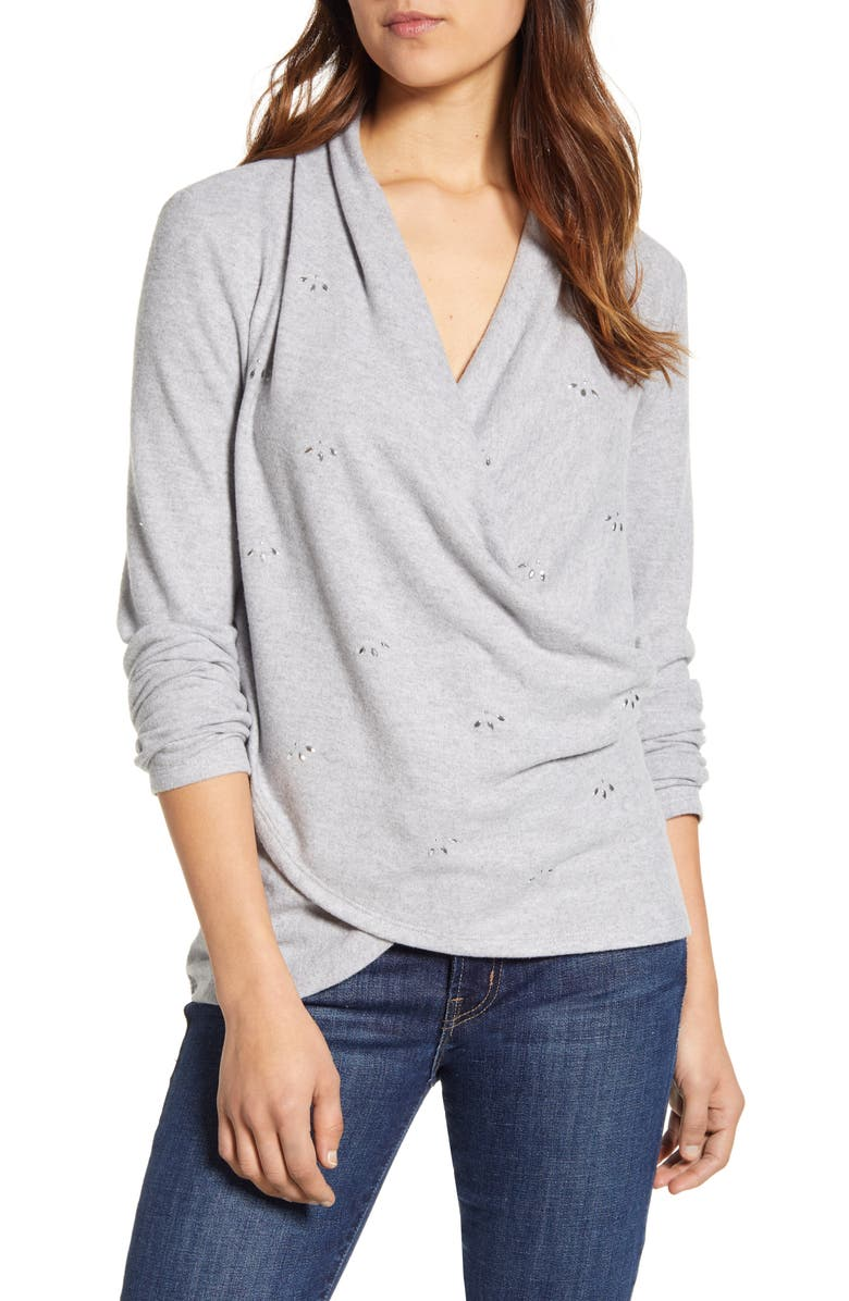 1.STATE Embellished Cross Front Top, Main, color, SILVER HEATHER