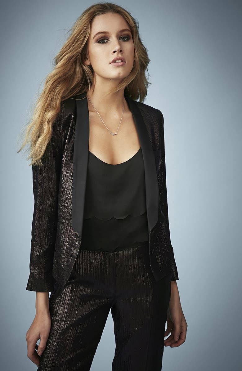 TOPSHOP Kate Moss for Topshop Lamé Tuxedo Jacket, Main, color, 001