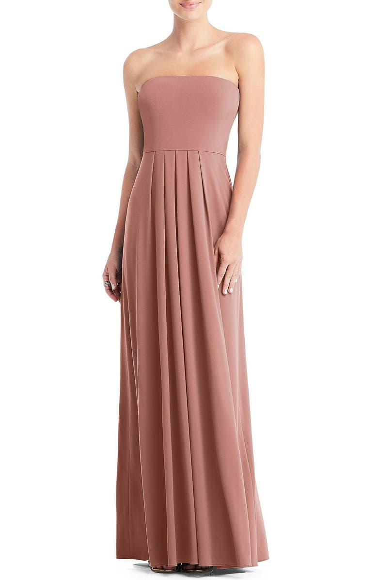 DESSY COLLECTION Multi-Way Loop A-Line Gown, Main, color, DESERT ROSE