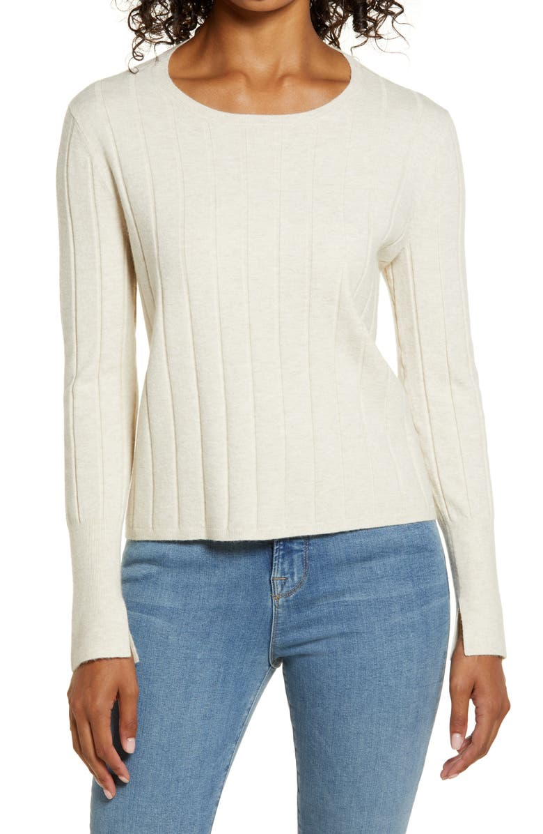 RACHEL PARCELL Easy Ribbed Sweater, Main, color, BEIGE OATMEAL LIGHT HEATHER