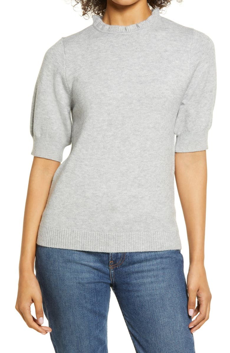 HALOGEN<SUP>®</SUP> Stripe Rib Sweater, Main, color, GREY HEATHER