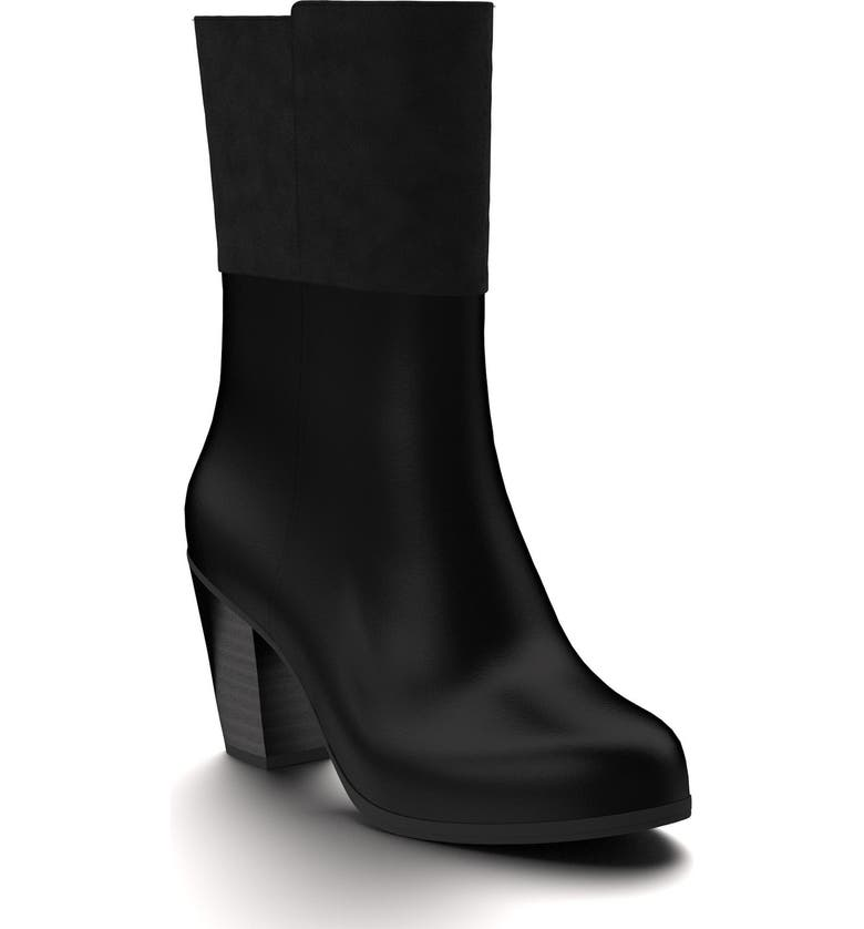 SHOES OF PREY Block Heel Boot, Main, color, BLACK LEATHER/ SUEDE