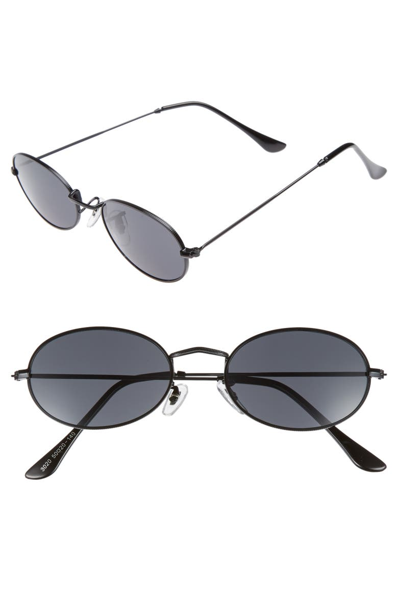SHADY LADY The Kendall 51mm Metal Sunglasses, Main, color, Black