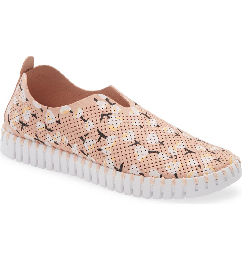 ILSE JACOBSEN Tulip 139 Perforated Slip-On Sneaker, Main, color, ADOBE ROSE FABRIC