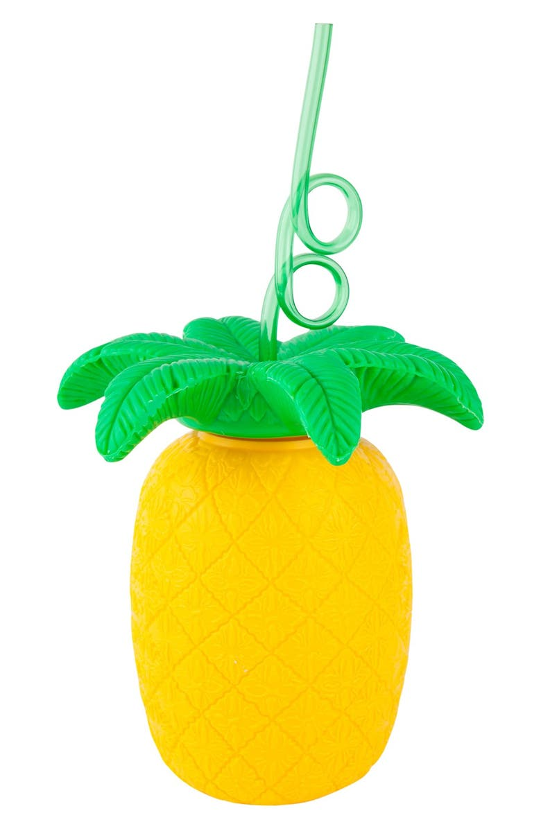SUNNYLIFE Pineapple Cup & Straw, Main, color, Yellow