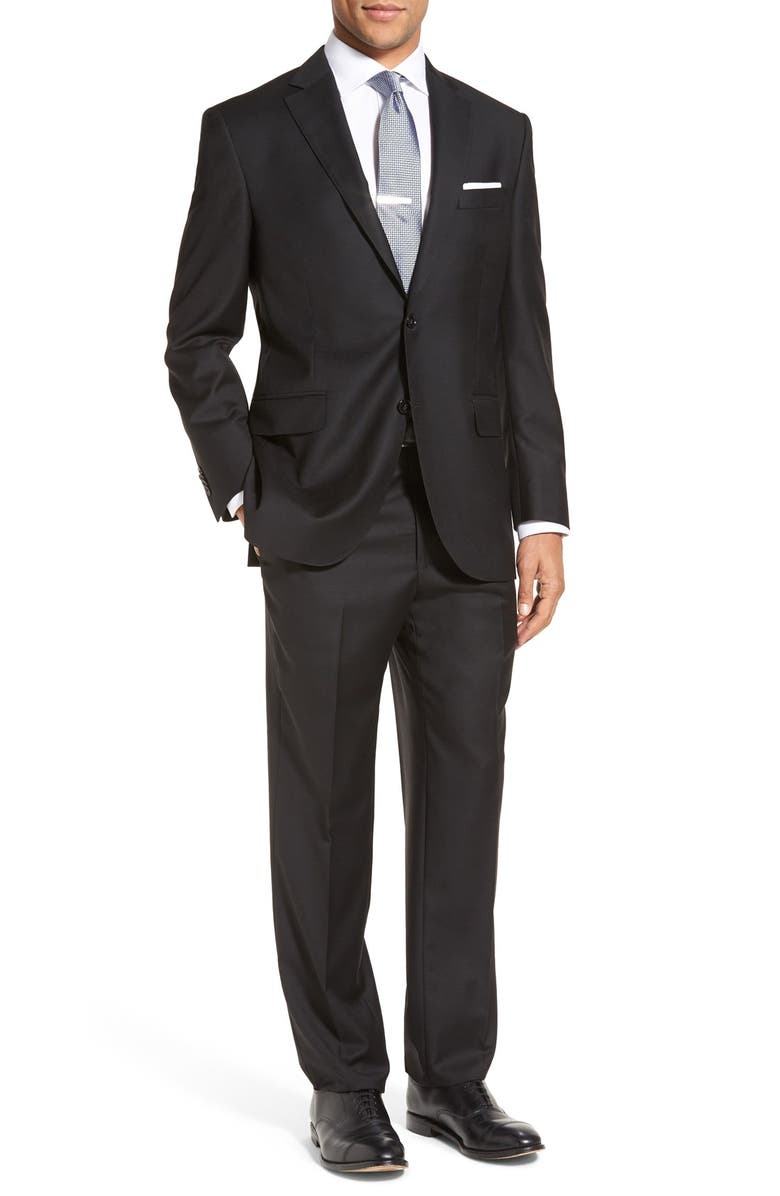 PETER MILLAR Flynn Classic Fit Solid Wool Suit, Main, color, BLACK