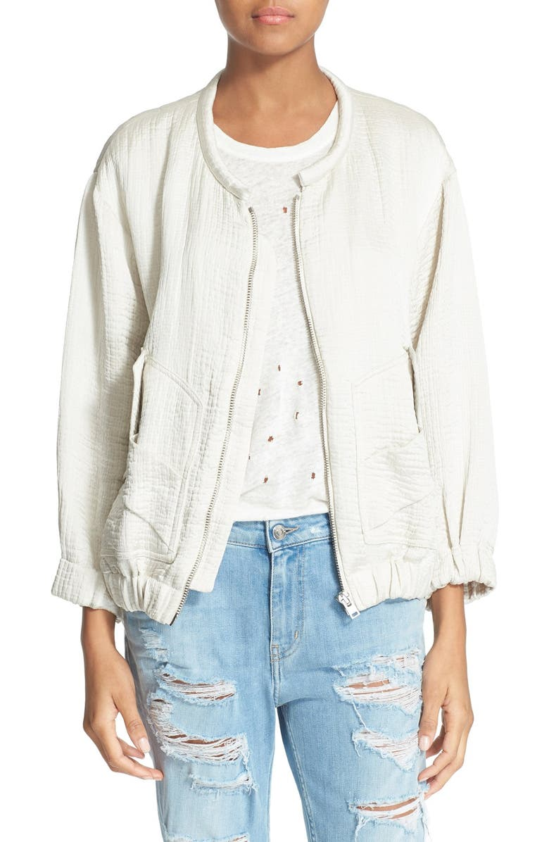 IRO 'Mila' Linen & Silk Bomber Jacket, Main, color, 900