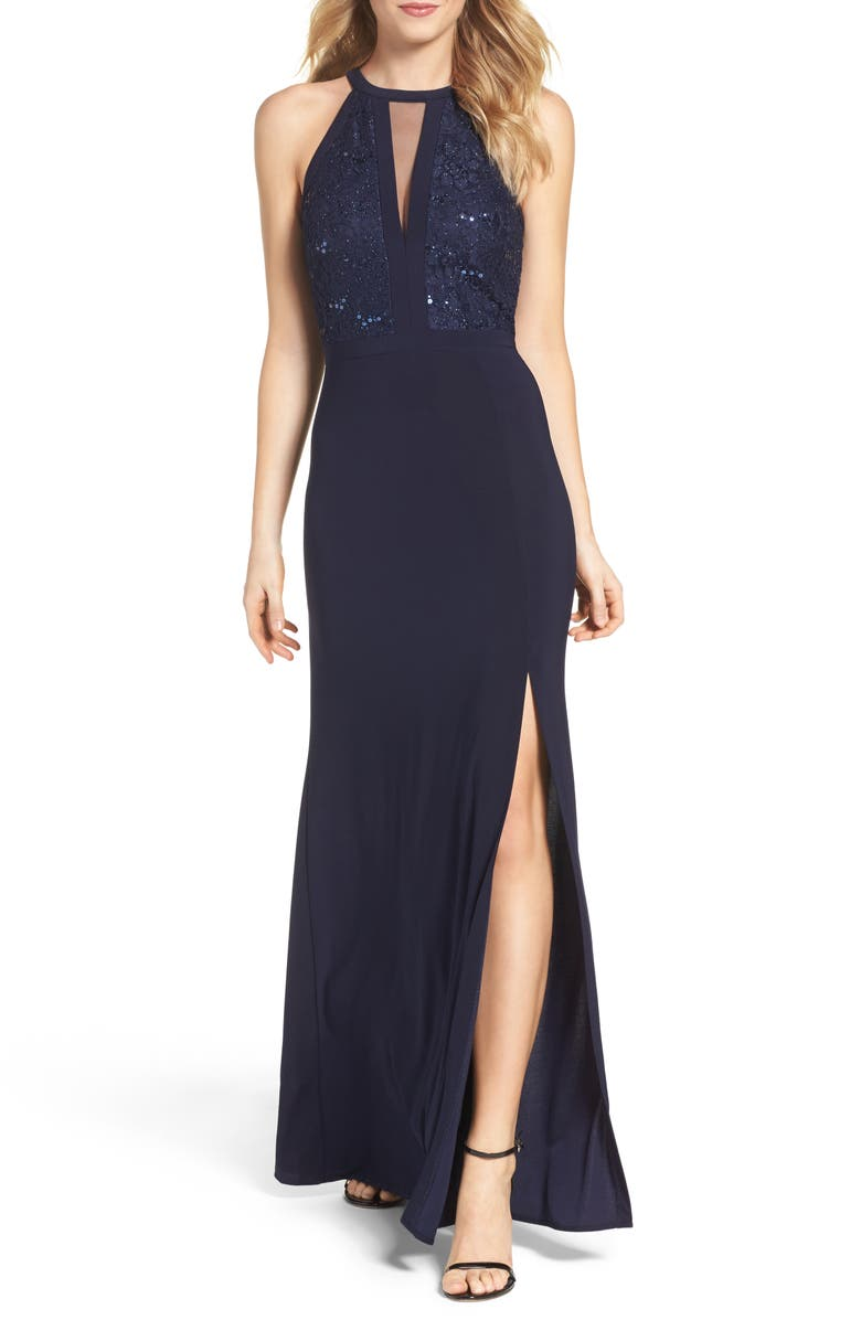 MORGAN & CO. Lace & Jersey A-Line Gown, Main, color, NAVY