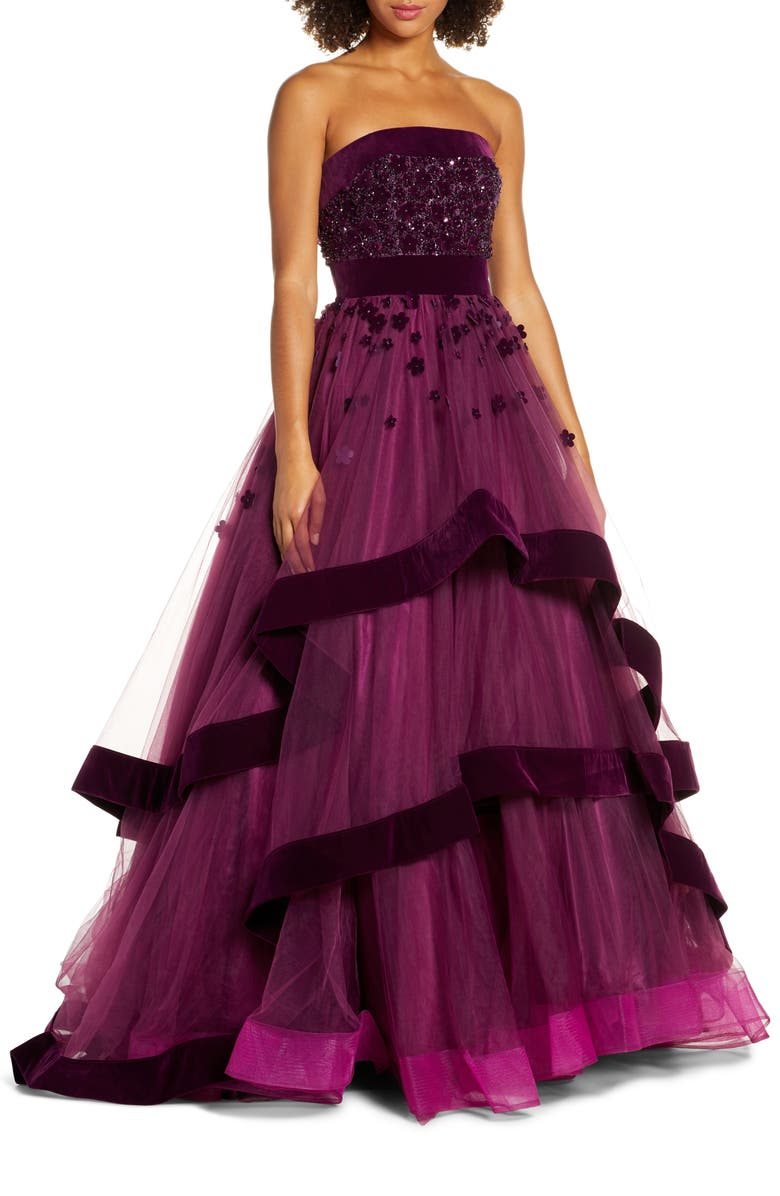 MAC DUGGAL Strapless Tiered Ballgown, Main, color, BURGUNDY
