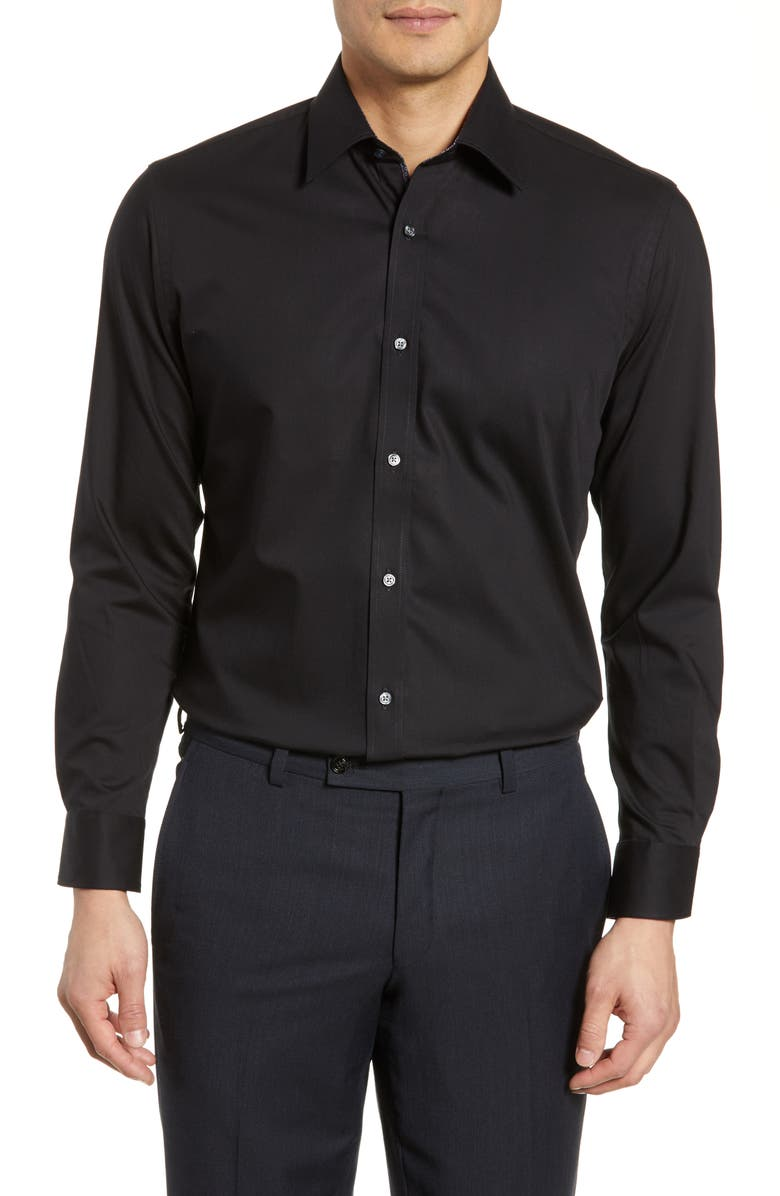 TED BAKER LONDON Endurance Extra Slim Fit Stretch Solid Dress Shirt, Main, color, 001