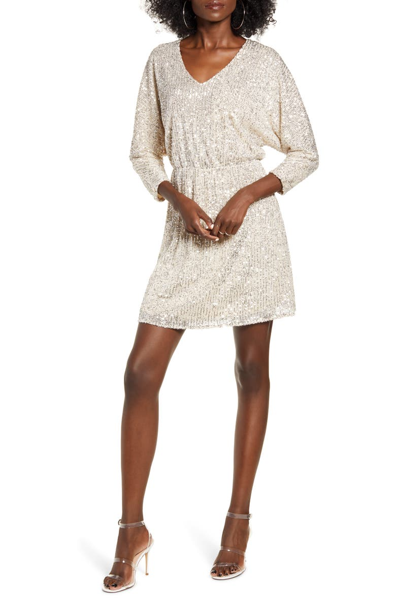 ALL IN FAVOR Sequin Dolman Minidress, Main, color, 040