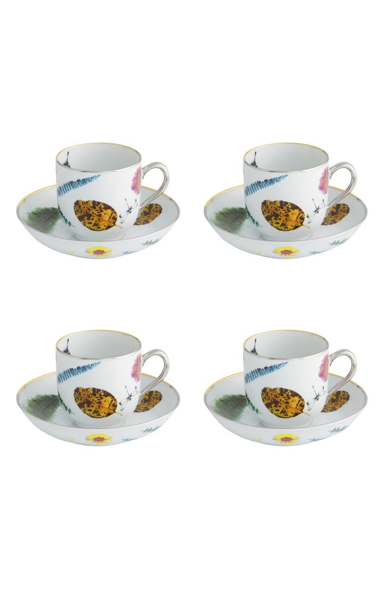 CHRISTIAN LACROIX Caribe Set of 4 Teacups & Saucers, Main, color, 100