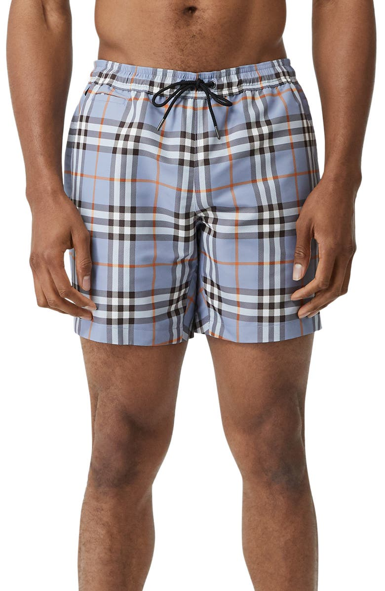 BURBERRY Martin Check Swim Trunks, Main, color, 400