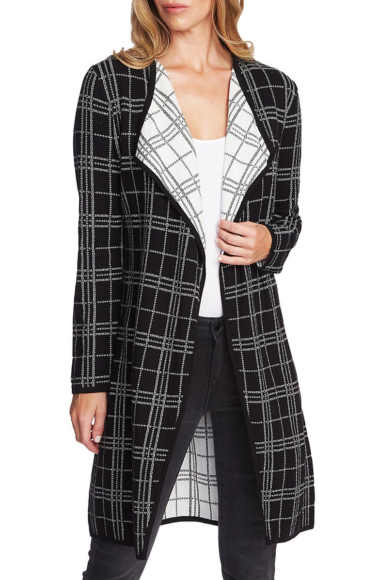 VINCE CAMUTO Plaid Open Front Combed Cotton Cardigan, Main, color, 006
