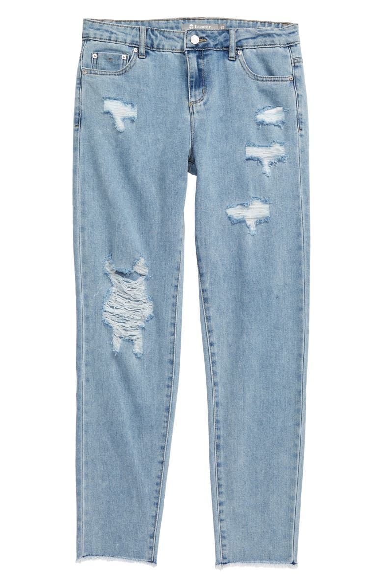 TRACTR Distressed High Waist Jeans, Main, color, 461