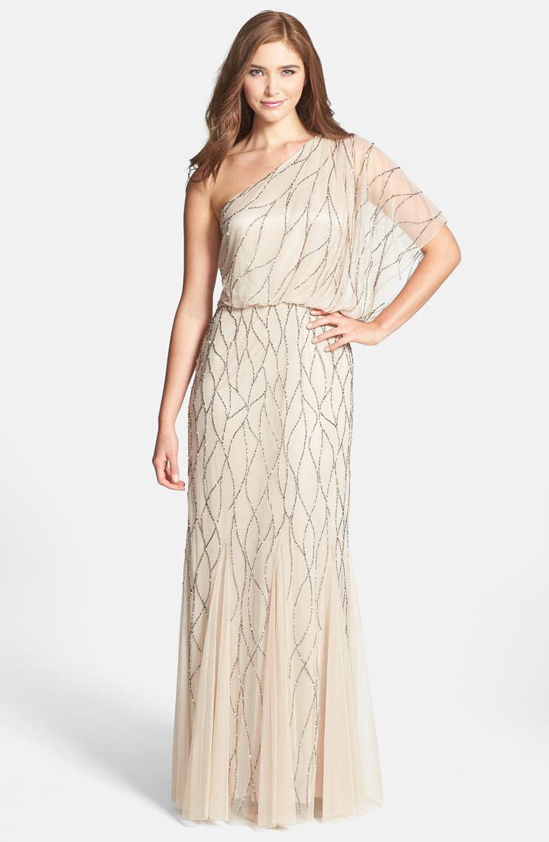 ADRIANNA PAPELL Beaded One-Shoulder Blouson Dress, Main, color, NUDE