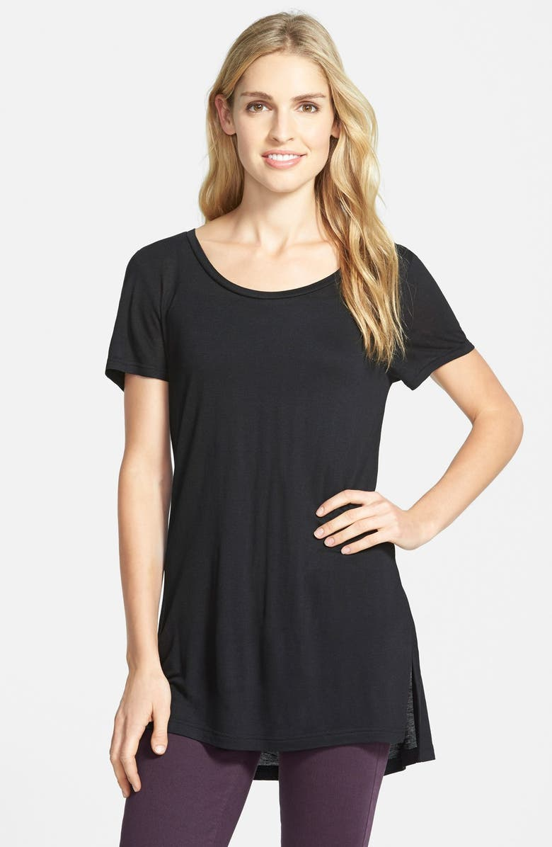 HALOGEN<SUP>®</SUP> SHORT SLEEVE LONG TEE, Main, color, 001