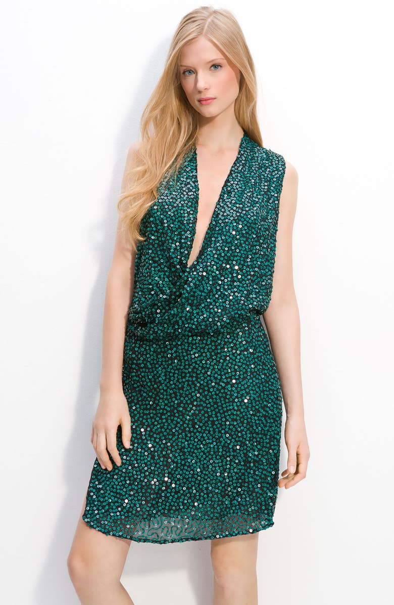 DIANE VON FURSTENBERG 'Issie' Sequin Faux Wrap Dress, Main, color, 300