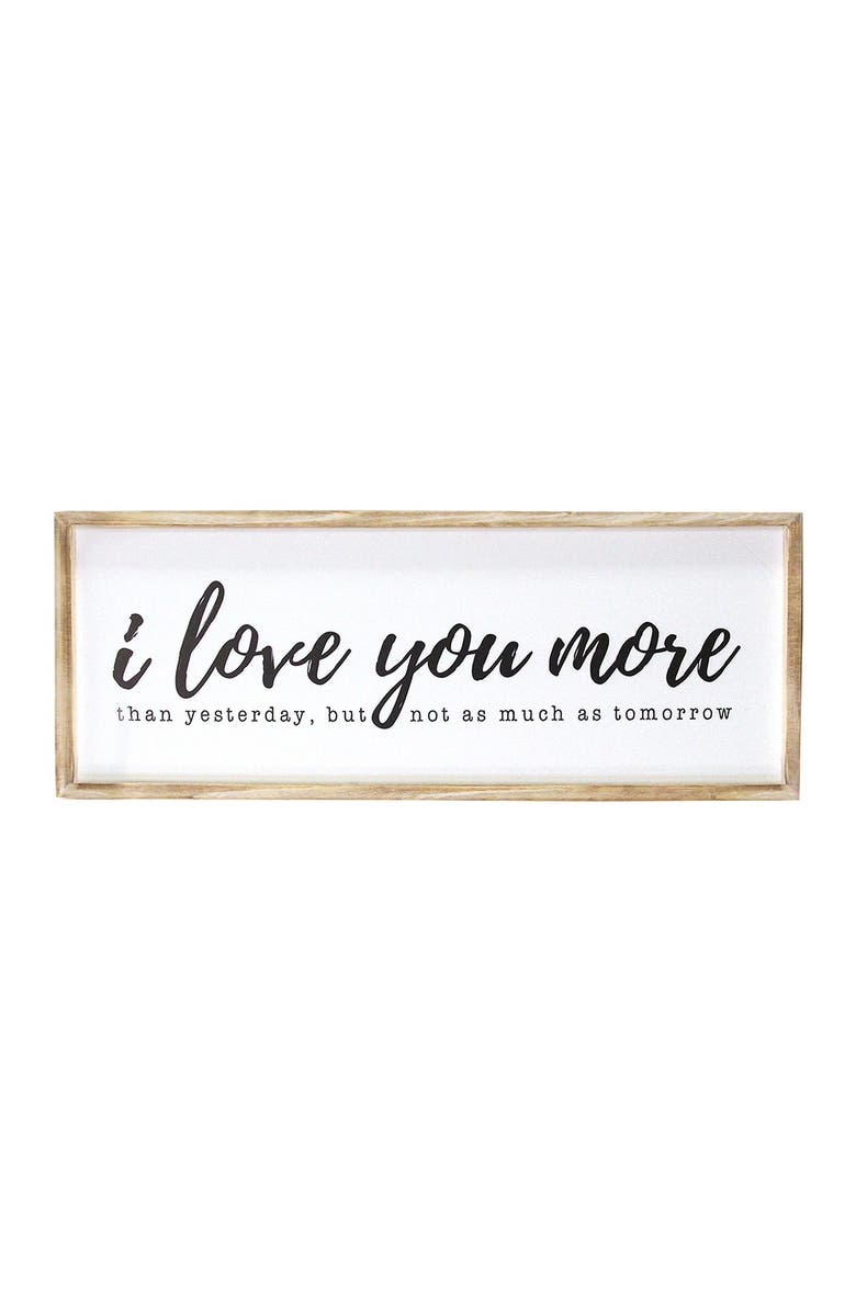 STRATTON HOME DECOR Natural/White I Love You More Oversized Wall Art, Main, color, NATURAL/ WHITE