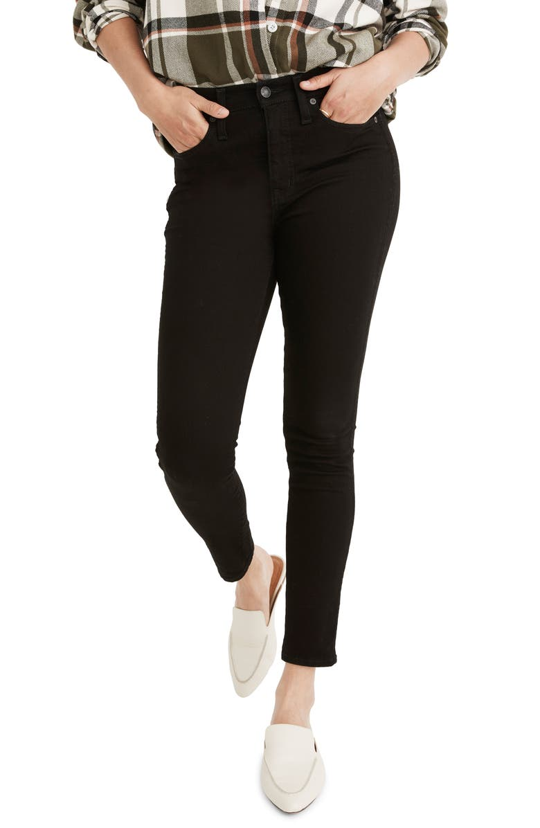 MADEWELL 10-Inch High Waist Skinny Jeans, Main, color, BLACK FROST