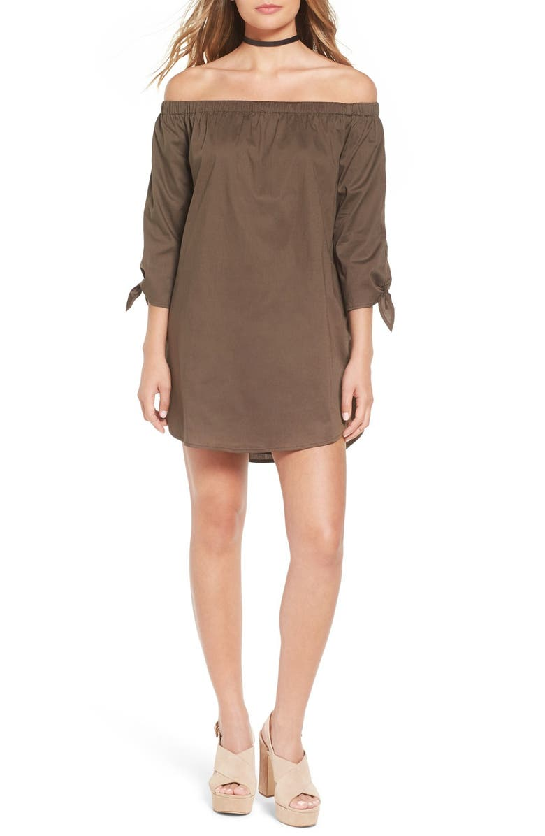 LUCCA COUTURE Off the Shoulder Minidress, Main, color, OLIVE
