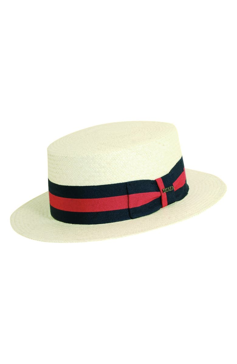 SCALA Panama Straw Boater Hat, Main, color, 109
