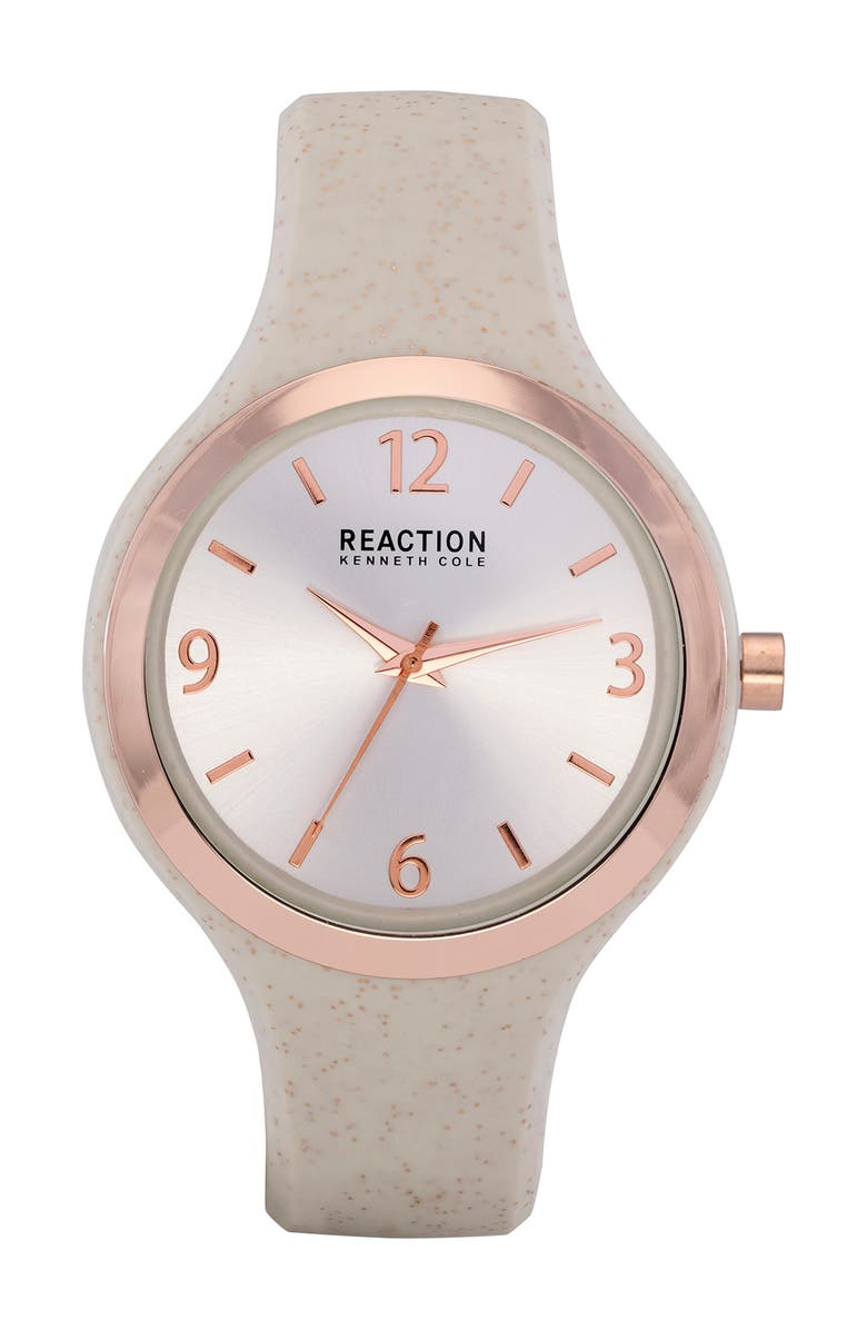 KENNETH COLE REACTION Women's Reaction 3 Hands Silver Dial Silicone Watch, 42mm, Main, color, WHITE