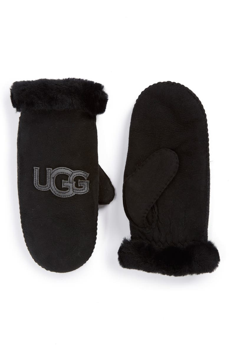 UGG<SUP>®</SUP> Australia 'Heritage Logo' Genuine Shearling & Suede Mittens, Main, color, 001