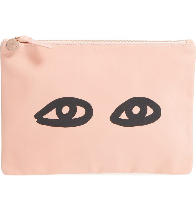 CLARE V. 'Eyes' Printed Nappa Leather Clutch, Main, color, 460