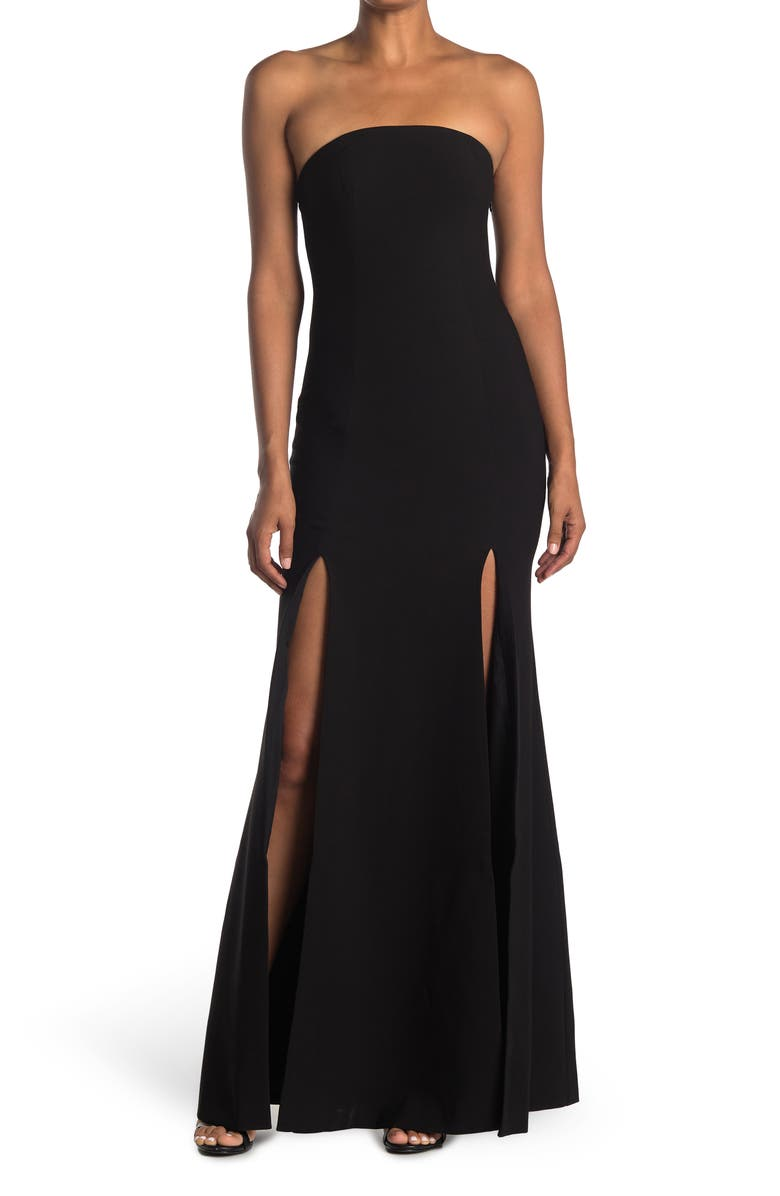 LIKELY Avalina Strapless Front Slit Gown, Main, color, BLACK