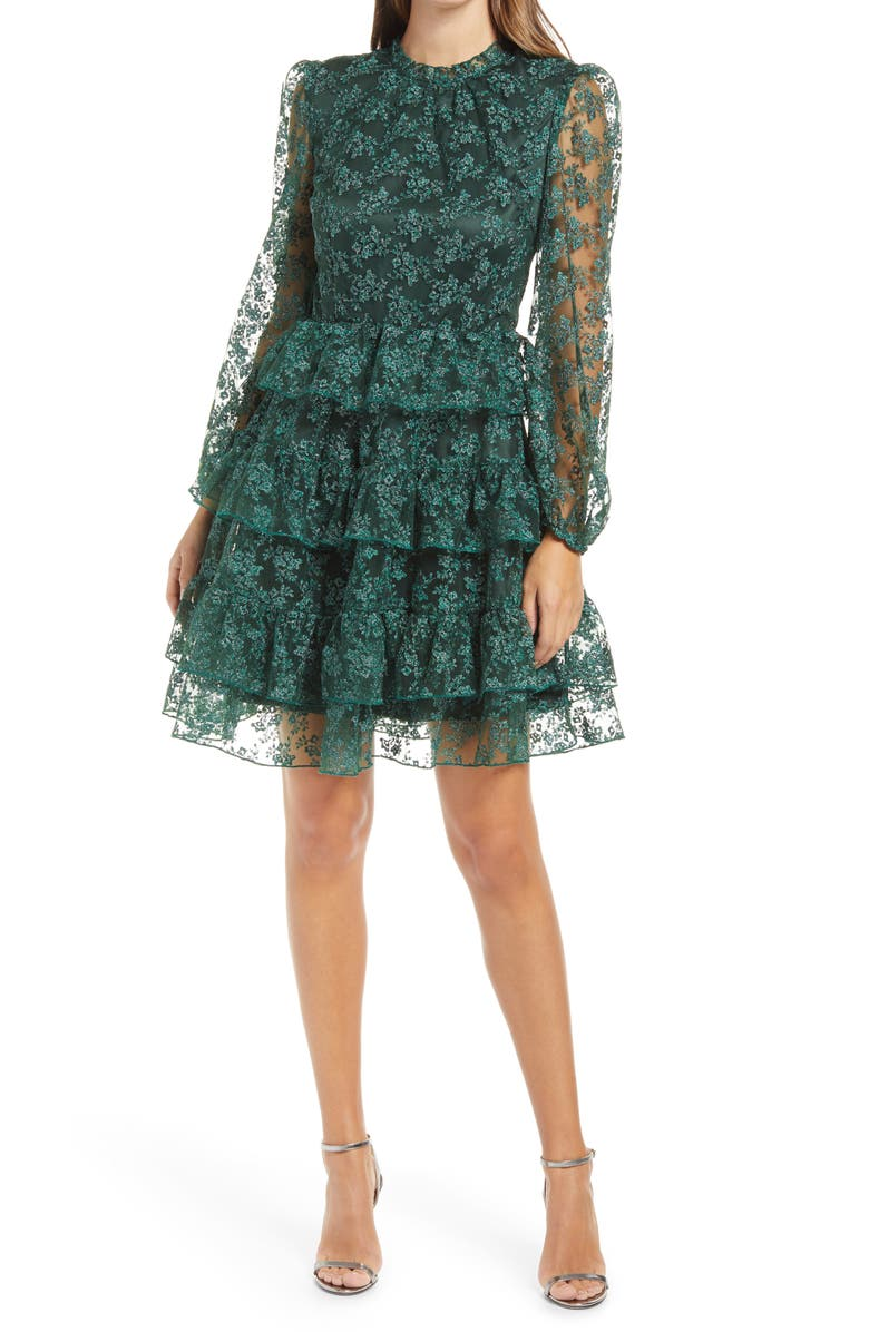RACHEL PARCELL Metallic Embroidered Long Sleeve Dress, Main, color, GREEN PARK
