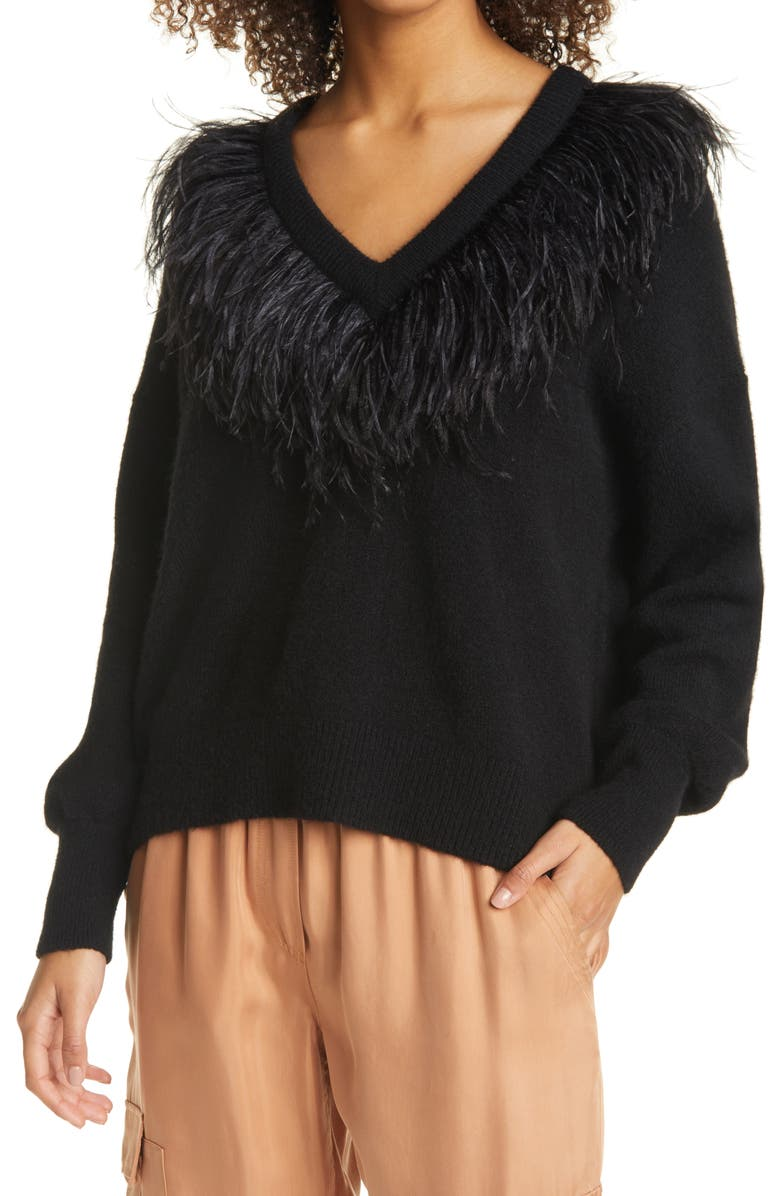 CINQ A SEPT Lizzie Wool Blend Pullover Sweater, Main, color, BLACK