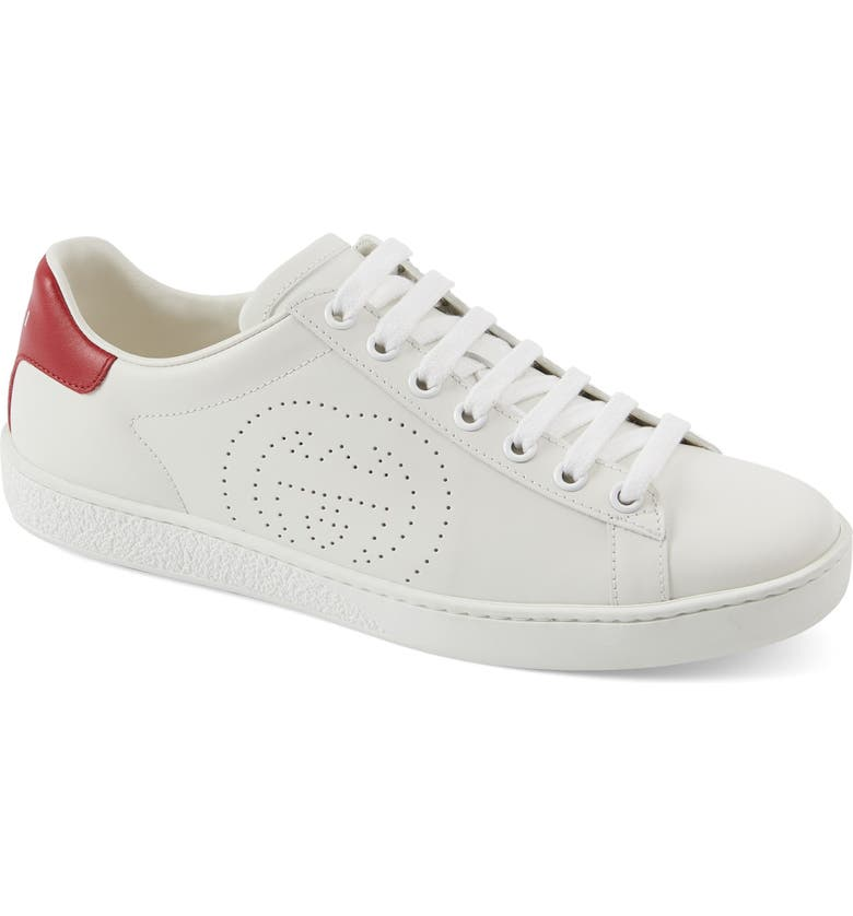 GUCCI New Ace Perforated Logo Sneaker, Main, color, WHITE/ RED