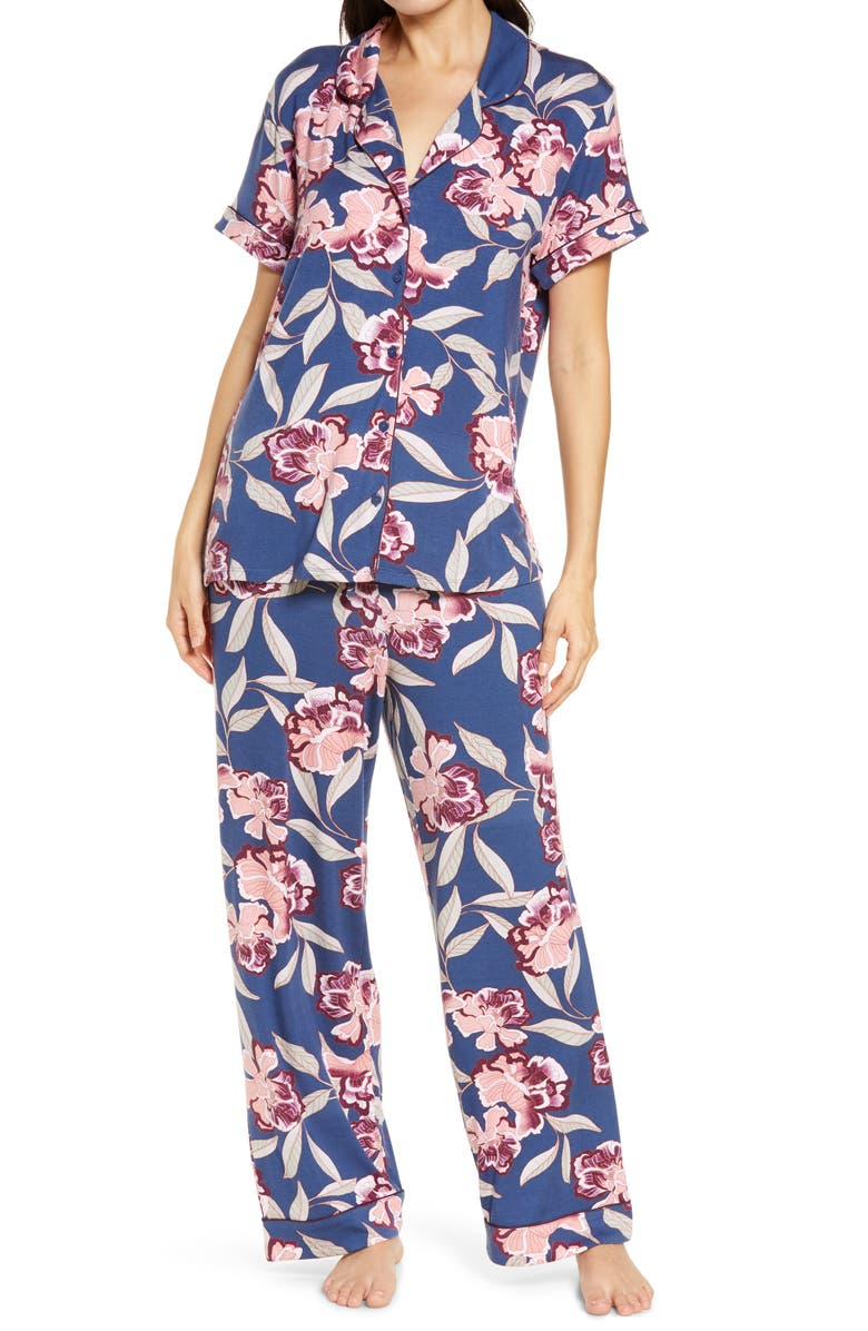 NORDSTROM Moonlight Dream Crop Pajamas, Main, color, BLUE SHADOW RYLAN FLORAL