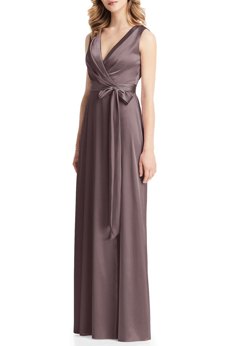 JENNY PACKHAM Stretch Charmeuse Wrap Gown, Main, color, 252