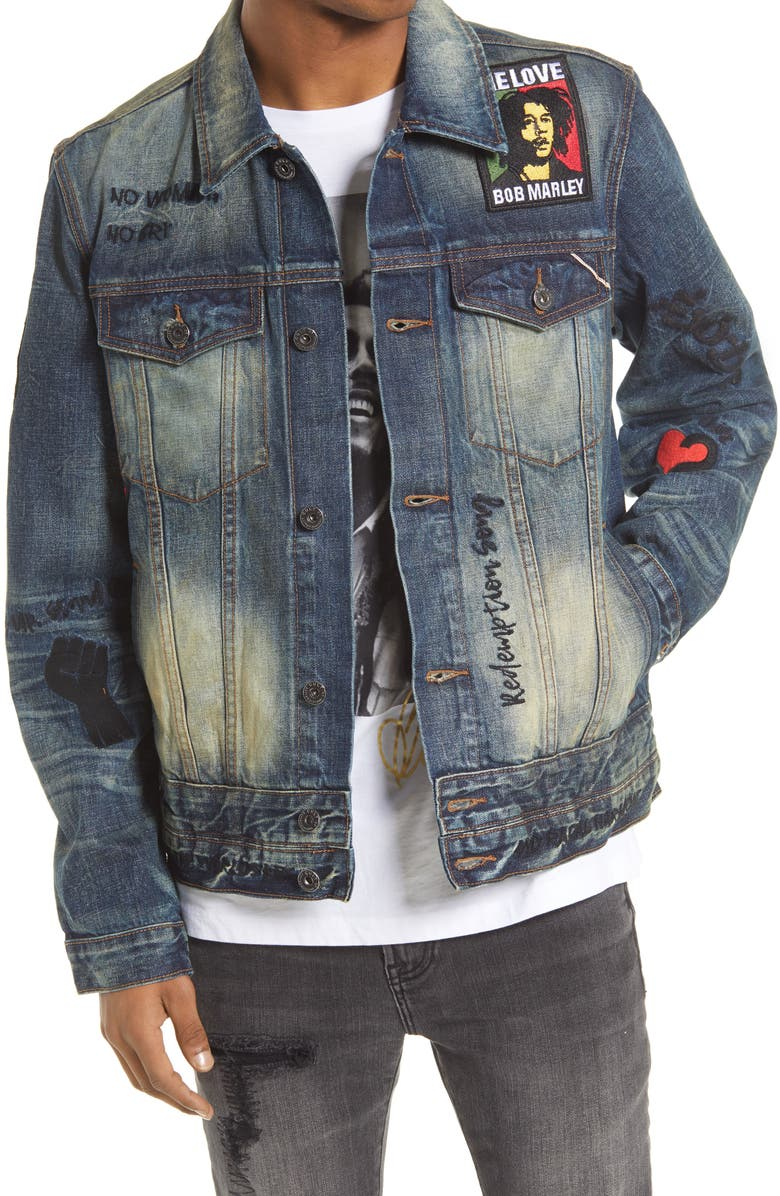 CULT OF INDIVIDUALITY Bob Marley Type III Denim Jacket, Main, color, SHED