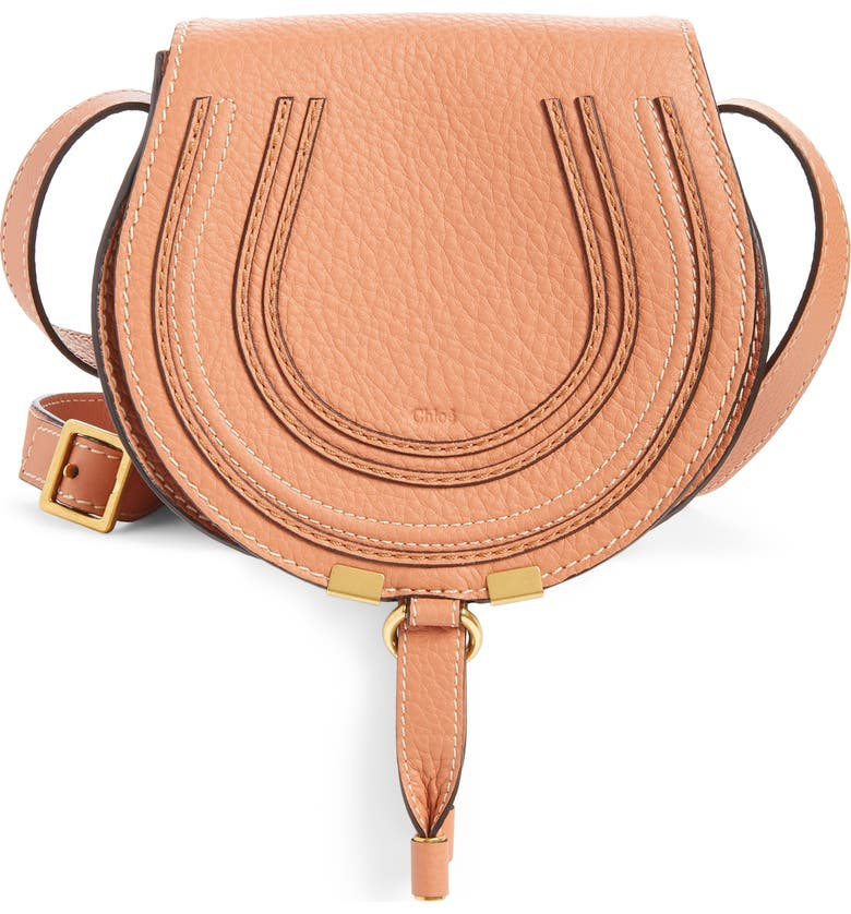 CHLOÉ Mini Marcie Leather Crossbody Bag, Main, color, MUTED BROWN
