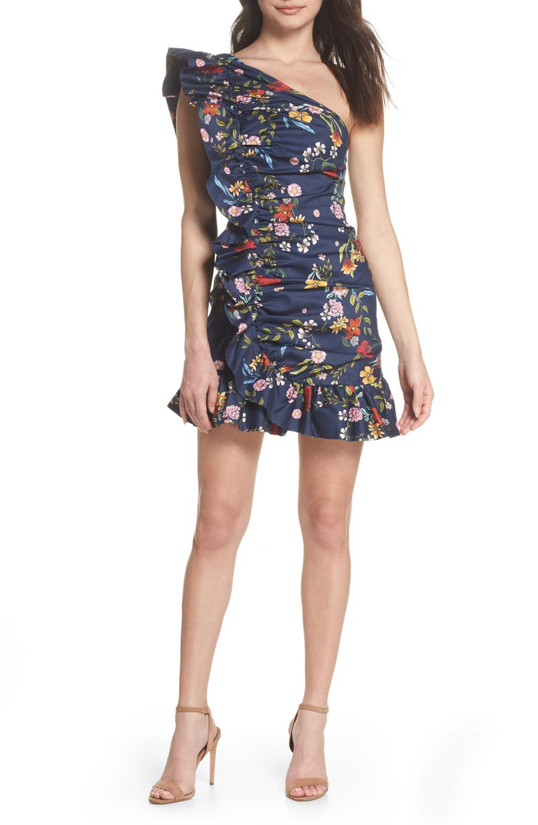 C/MEO COLLECTIVE C/MEO No Matter One-Shoulder Ruffle Minidress, Main, color, 410