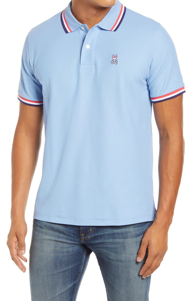 PSYCHO BUNNY Bower Tipped Short Sleeve Polo, Main, color, 442
