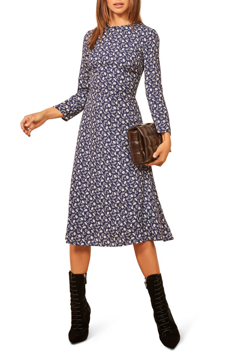 REFORMATION Moon Floral Long Sleeve Dress, Main, color, 400