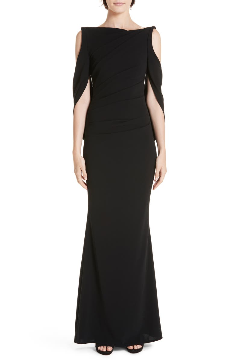 TALBOT RUNHOF Cold Shoulder Drape Back Gown, Main, color, 001