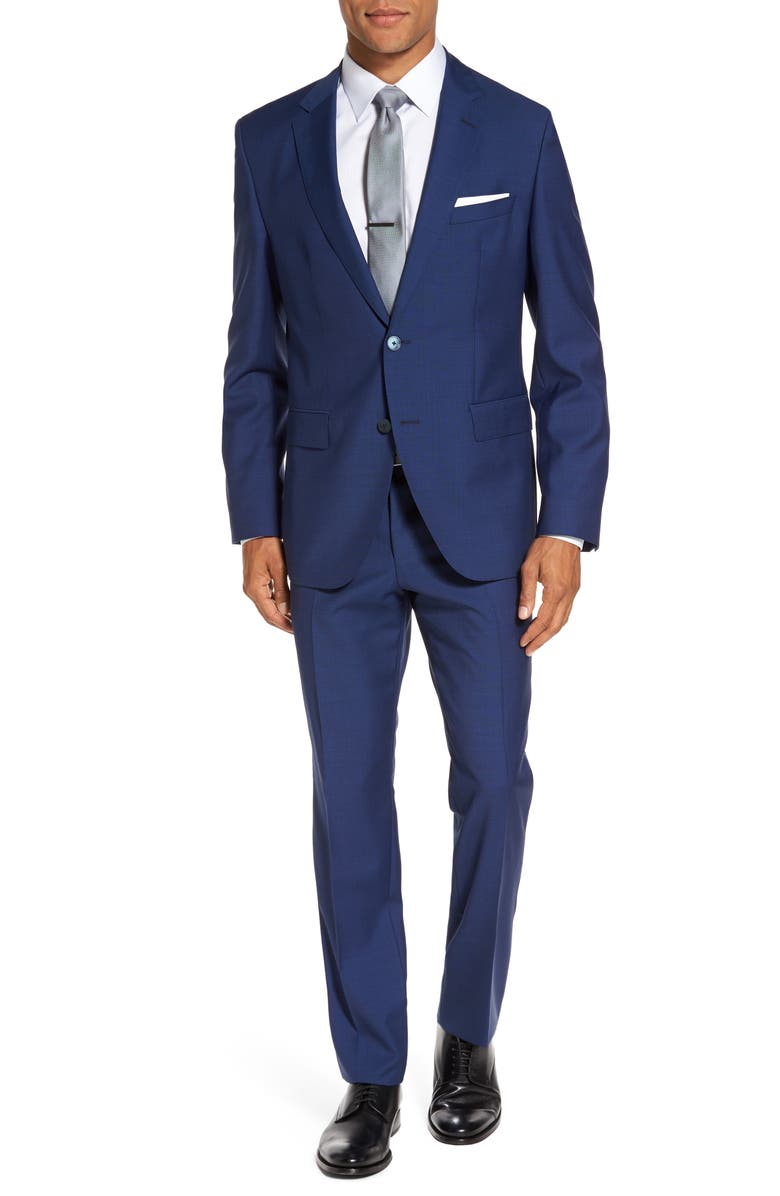 BOSS Trim Fit Solid Wool Suit, Main, color, Bright Blue