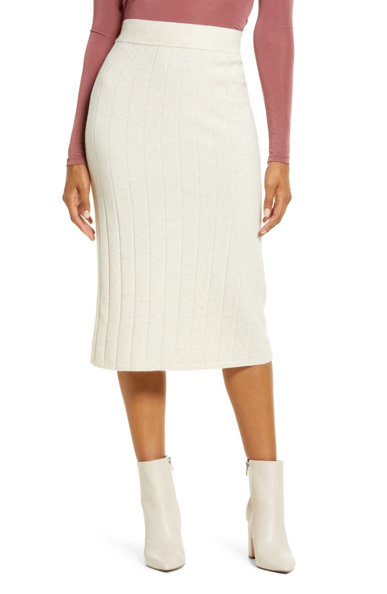 RACHEL PARCELL Easy Ribbed Midi Sweater Skirt, Main, color, 270