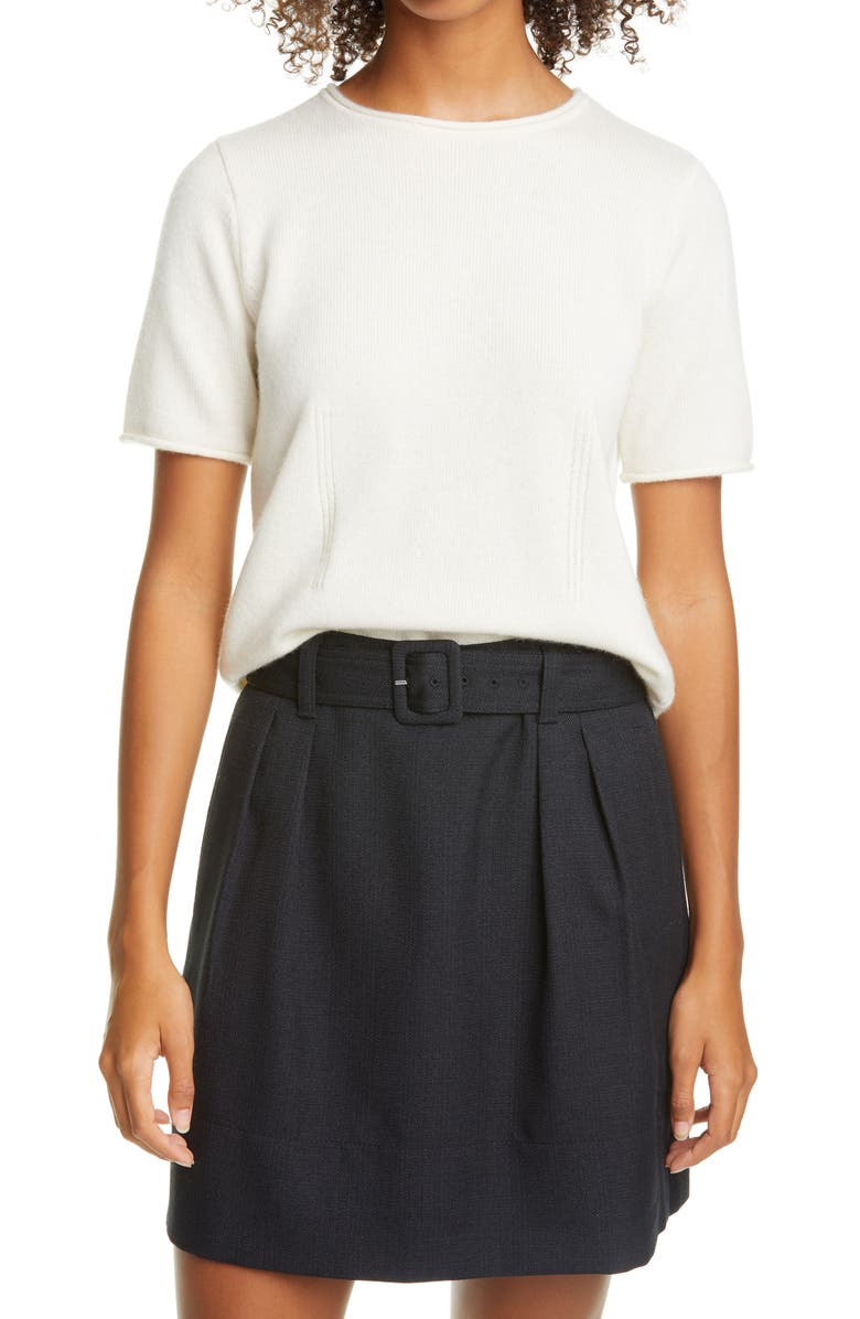 CLUB MONACO Short Sleeve Cashmere Sweater, Main, color, IVORY