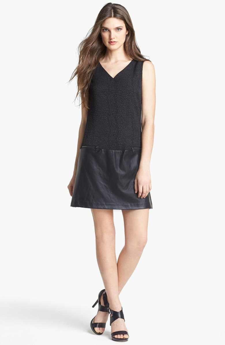 MARC NEW YORK by Andrew Marc Jacquard Faux Leather Drop Waist Dress, Main, color, Black